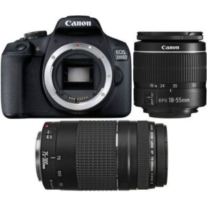 Canon EOS 2000D Digital SLR Camera Double DC Kit - EF-S 18-55mm IS II and EF 75-300mm f/4-5.6 II (24.1MP)